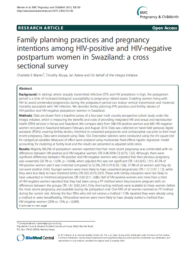 Family planning practices and pregnancy intentions among HIV-positive and HIV-negative postpartum women in Swaziland.