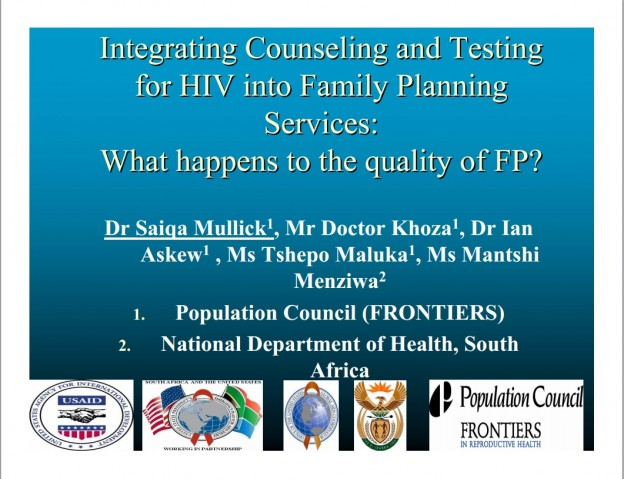 COVER Integrating counseling testing in family planning 2006