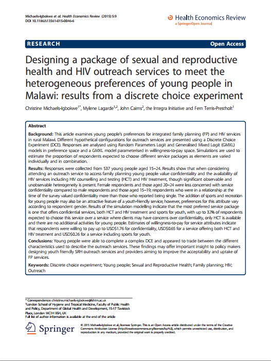 Designing a package of sexual and reproductive health IMAGES