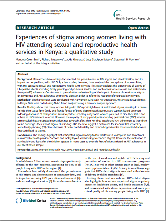 Experiences of stigma among women living with HIV attending sexual and reproductive health services in Kenya IMAGE