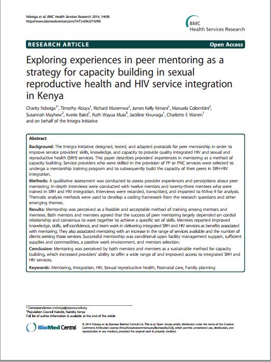Exploring experiences in peer mentoring Kenya IMAGE