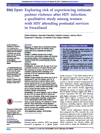 Exploring risk of experiencing intimate partner violence after HIV infection a qualitative study among in Swaziland IMAGE