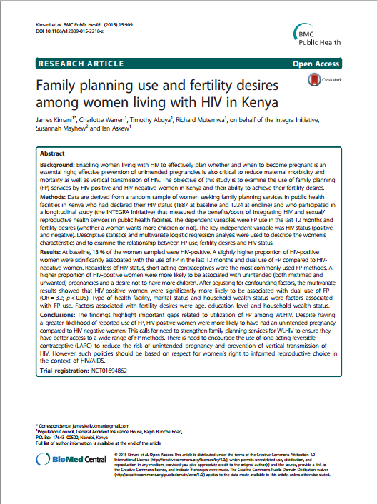 Family planning use and fertility desires among women living with HIV in Kenya IMAGE